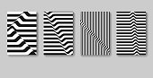 Minimal vector covers design. Black and white stripes. Monochrome templates for placards, banners, flyers, presentations and reports.