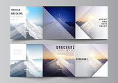 Minimal vector editable layout of square format covers design templates for trifold brochure, flyer, magazine. Mountain illustration, outdoor adventure. Travel concept background. Flat design vector