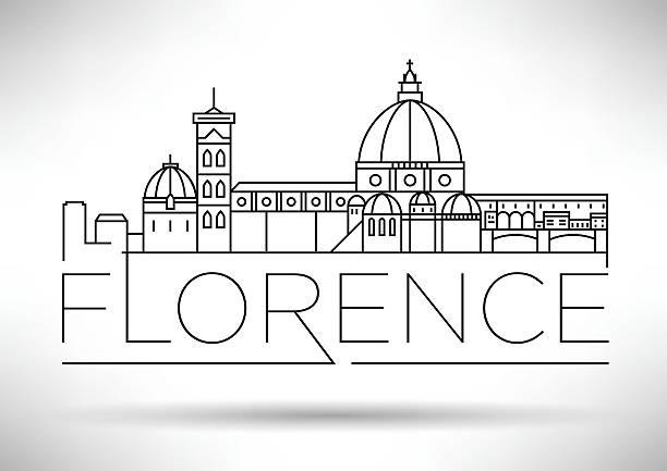 illustrazioni stock, clip art, cartoni animati e icone di tendenza di minimal vector florence city linear skyline with typographic des - firenze