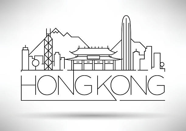 Minimal Vector Hong Kong City Linear Skyline With Typographic De Art Illustration