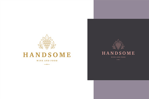 Minimal vector illustration of elegant outline emblem template with bunch of grapes and leaves line style