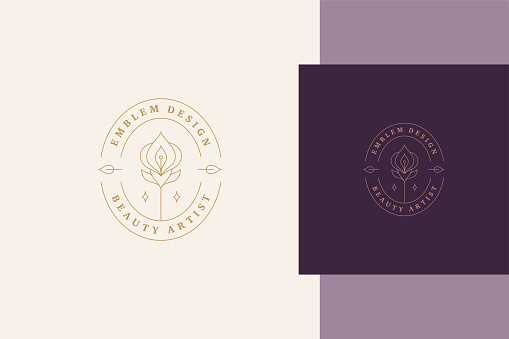 Minimal vector illustration of linear style symbol template with elegant orchid in oval frame designed for professional beauty artist service line style