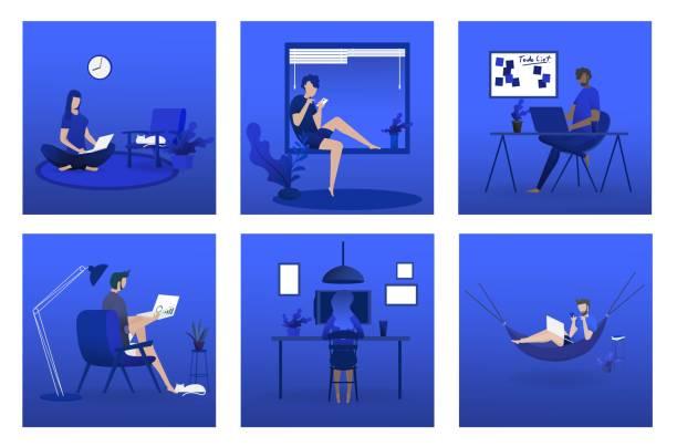 ilustrações de stock, clip art, desenhos animados e ícones de minimal vector illustrator design - remote work
