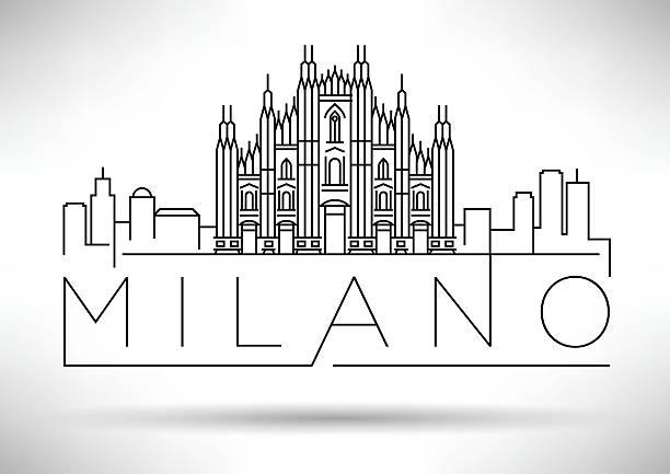 illustrazioni stock, clip art, cartoni animati e icone di tendenza di minimal vector milano city linear skyline with typographic desig - milan