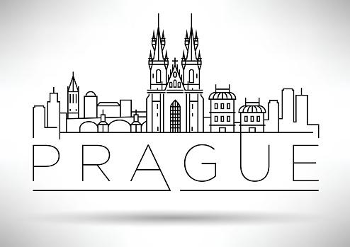 Minimal Vector Prague City Linear Skyline with Typographic Desig