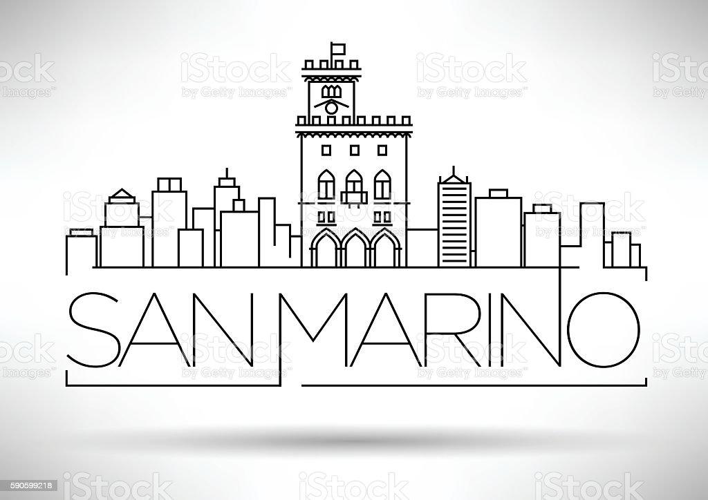Minimal Vector San Marino City Linear Skyline with Typographic D vector art illustration