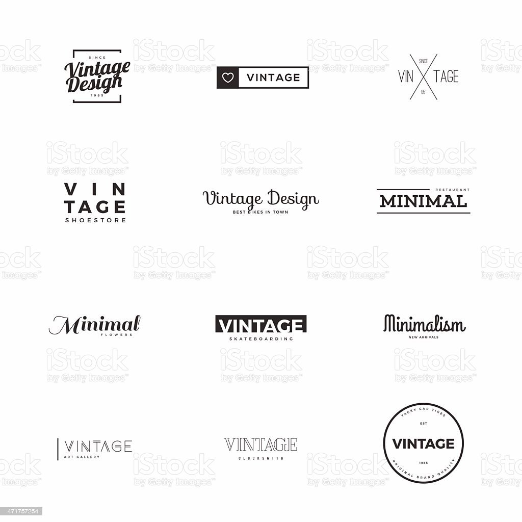 Minimal vintage vector logo templates for brand design vector art illustration
