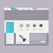 Minimal website design template in flat design