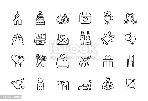 20 Wedding related icons design