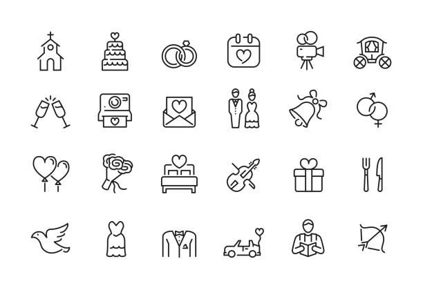 ilustrações, clipart, desenhos animados e ícones de ícone mínimo do casamento ajustado-curso editable - casamento