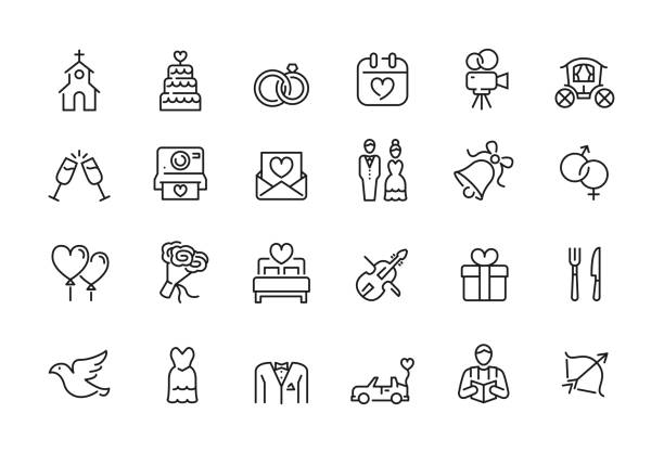stockillustraties, clipart, cartoons en iconen met minimale bruiloft pictogram set-bewerkbare lijn - verloving