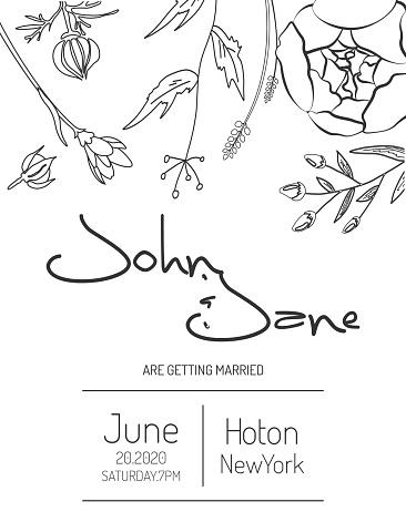Minimal Wedding Invitation Card with Floral Design