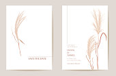 Minimal wedding invitation pampas grass boho card. Autumn watercolor template vector. Botanical Save the Date golden foliage modern poster, trendy design, luxury background, floral illustration