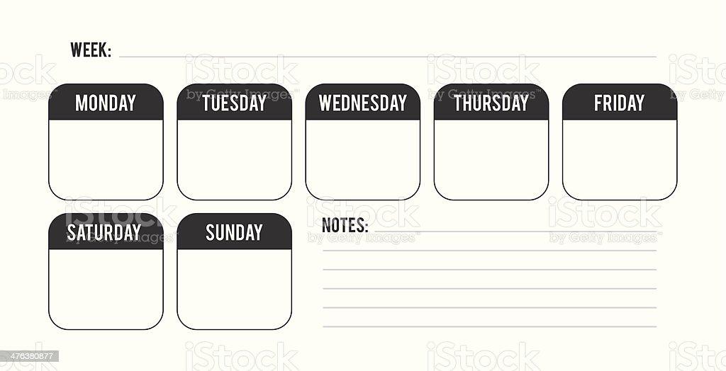 Minimal weekly planner vector art illustration