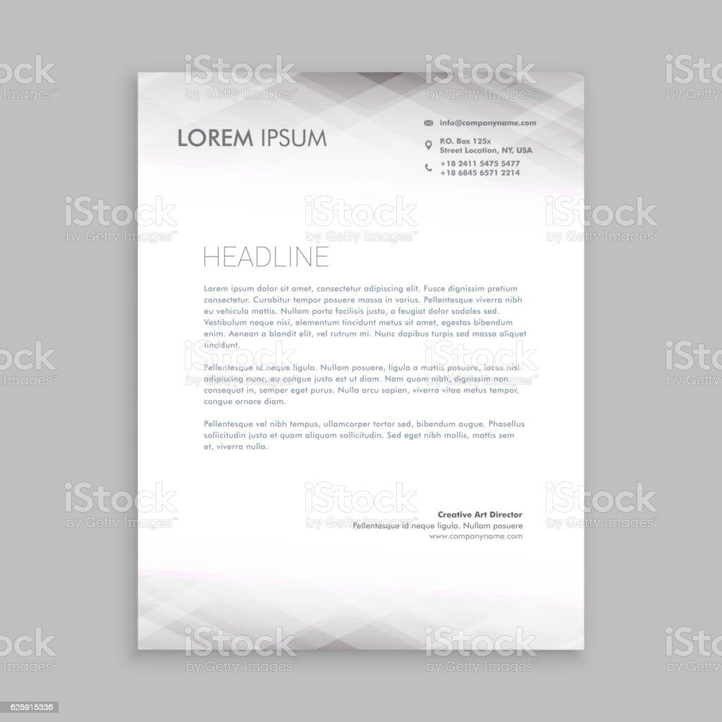 Minimal White Letterhead Template Vector Design Illustration Stock ...