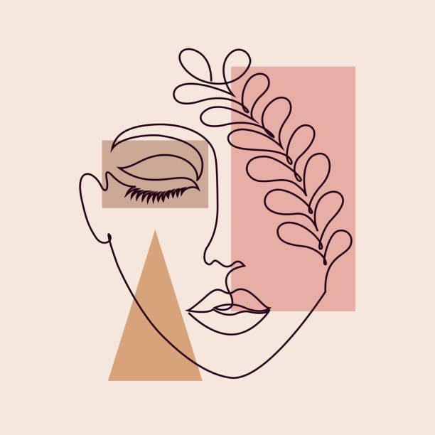 minimal woman face Abstract poster with minimal woman face.One line drawing style. beautiful woman stock illustrations