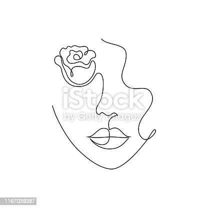 Minimal woman portrait. One line drawing style.Tattoo idea.