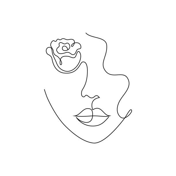 minimal woman portrait - usta człowieka stock illustrations