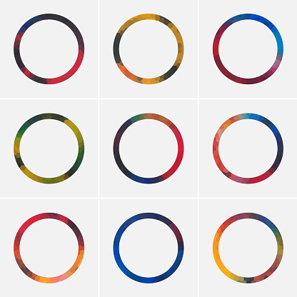 Minimalism colorful ringe icon collection for design