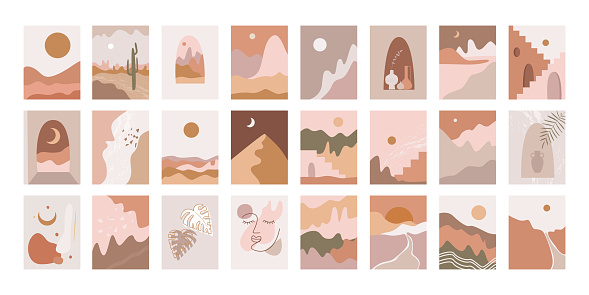 minimalism interior painting, pastel palette, peach and terracotta. desert landscape, sun and moon, Moroccan style