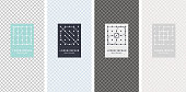 minimalism line geometric pattern with grid cover collection
