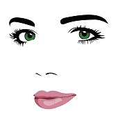 Minimalism pop art style of young green eye woman face.