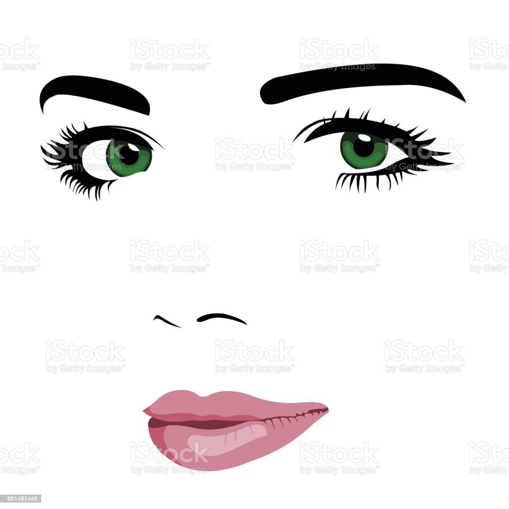 Minimalism pop art style of young green eye woman face. vector art illustration