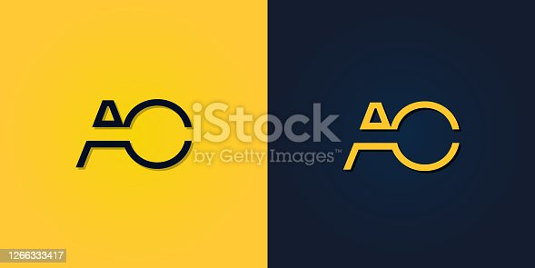 istock Minimalist Abstract Initial letter AO logo. 1266333417