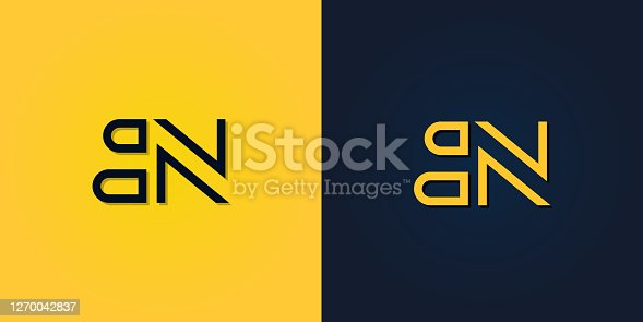 istock Minimalist Abstract Initial letter BN logo. 1270042837