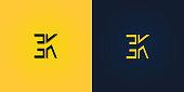 istock Minimalist Abstract Initial letter EK symbol. 1304876756