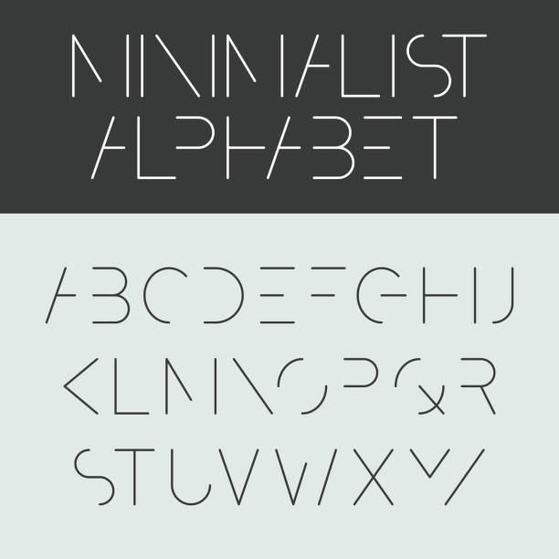 минималистский алфавит - понятия и темы stock illustrations