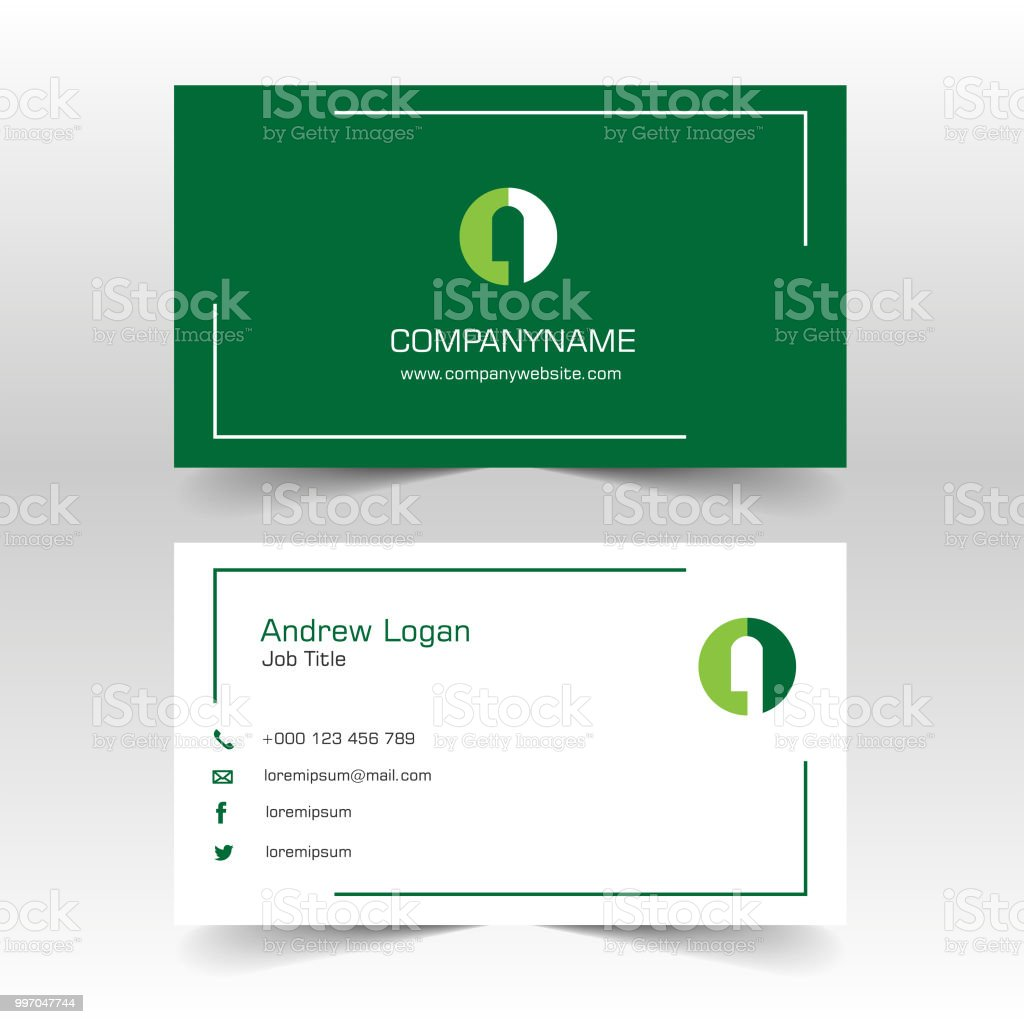 Minimalist And Clean Green Business Card Stock Vector Art More