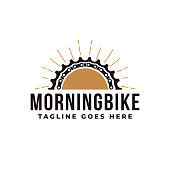 istock Minimalist bicycle, bike, bike shop, bike club icon vector illustration with gear. chains, and morning sunrise concept. 1287389296
