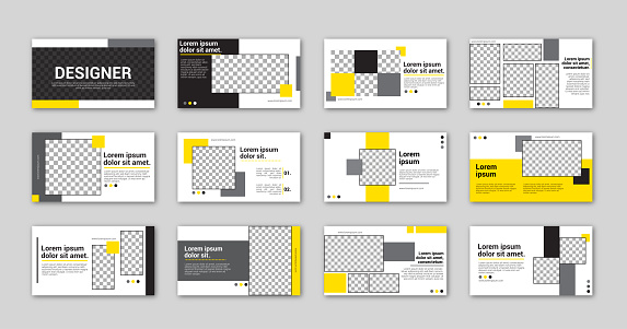 Minimalist black yellow presentation slide, power point landing page. Geometric shapes and gray background.