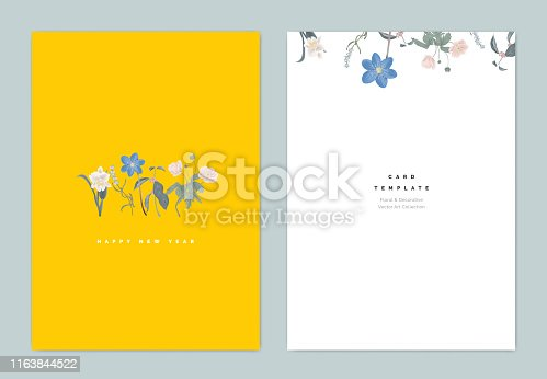 Minimalist botanical new year greeting card template design, Cattleya orchid, lavender, Hepatica Nobilis and anemone flowers on yellow, vintage style