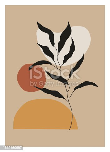 istock Minimalist botanical vector illustration as abstract line art composition with leaves. Ideal for art gallery, modern wall art poster, minimal interior design. 1312160697