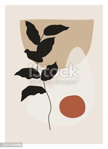 istock Minimalist botanical vector illustration as abstract line art composition with leaves. Ideal for art gallery, modern wall art poster, minimal interior design. 1312160698