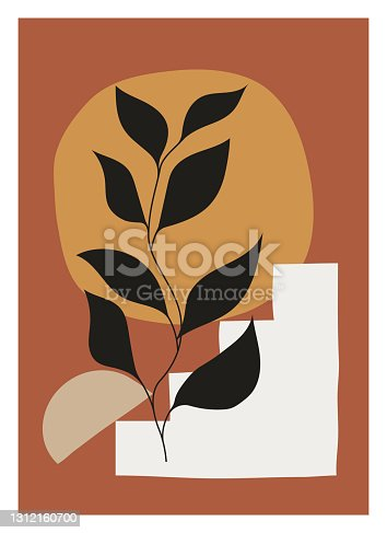 istock Minimalist botanical vector illustration as abstract line art composition with leaves. Ideal for art gallery, modern wall art poster, minimal interior design. 1312160700