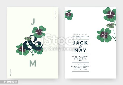Minimalist botanical wedding invitation card template design, Oxalis tetraphylla or lucky clover with lettering on light green, pastel vintage theme