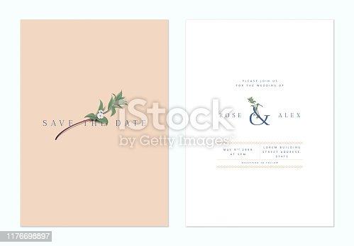 Minimalist botanical wedding invitation card template design, woolly rock jasmine flowers on brown and white, vintage style