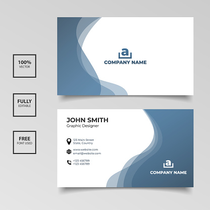 Minimalist business card. gradient blue and white color horizontal simple clean template vector design