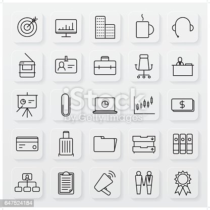 A set of 25 minimalist business line icon set on a subtle button background with shadow.