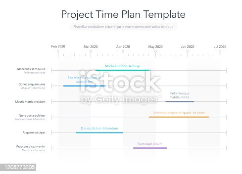 Minimalist business project time plan graph with project tasks in time intervals
