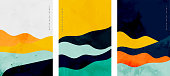 minimalist curve lines shape flyer set of three