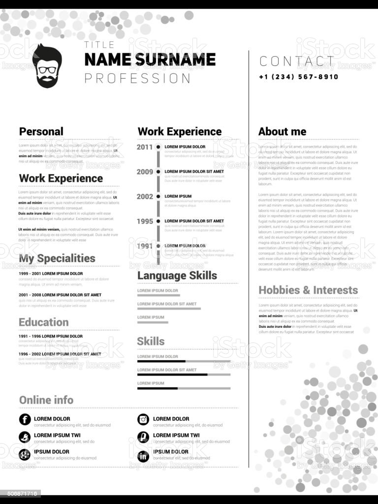 minimalist cv resume template stock vector art  u0026 more
