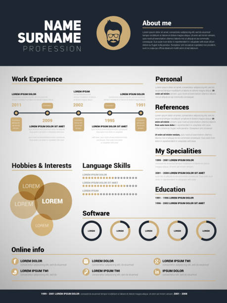 minimalist cv, resume template with simple design - business cv templates stock illustrations