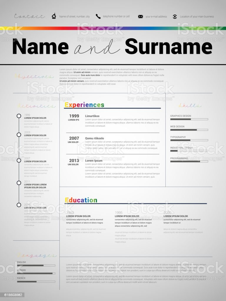 Minimalist Cv Resume Template With Simple Design Stock Vector Art