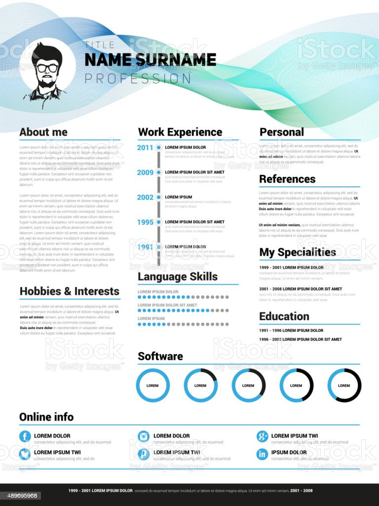 Minimalist Cv Resume Template With Simple Design Vector Stock Vector