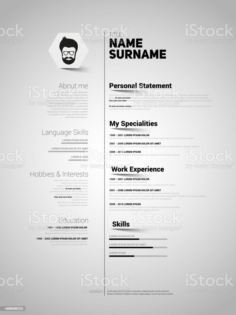 minimalist cv resume template with simple design vector royalty free stock vector art