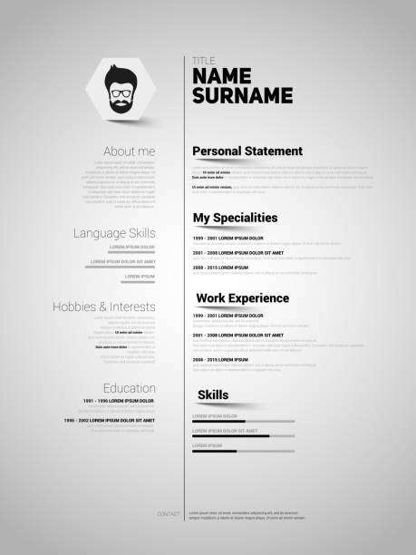 minimalist cv, resume template with simple design, vector - resume templates stock illustrations